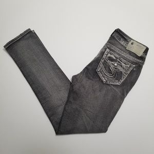 Silver Jeans Grey Suki Flap Skinny Denim Jeans